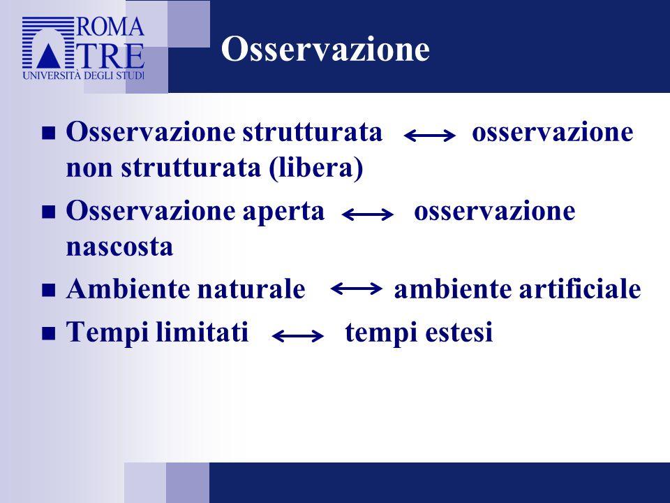 Osservazione Osservazione strutturata osservazione non strutturata (libera) Osservazione aperta osservazione nascosta.