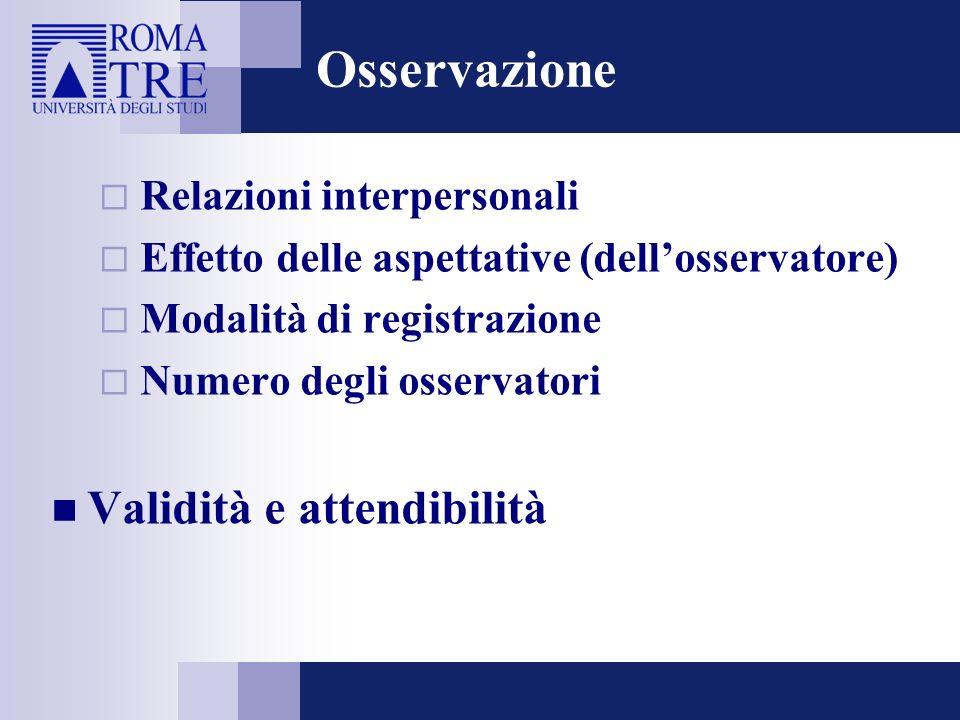 Osservazione Validità e attendibilità Relazioni interpersonali