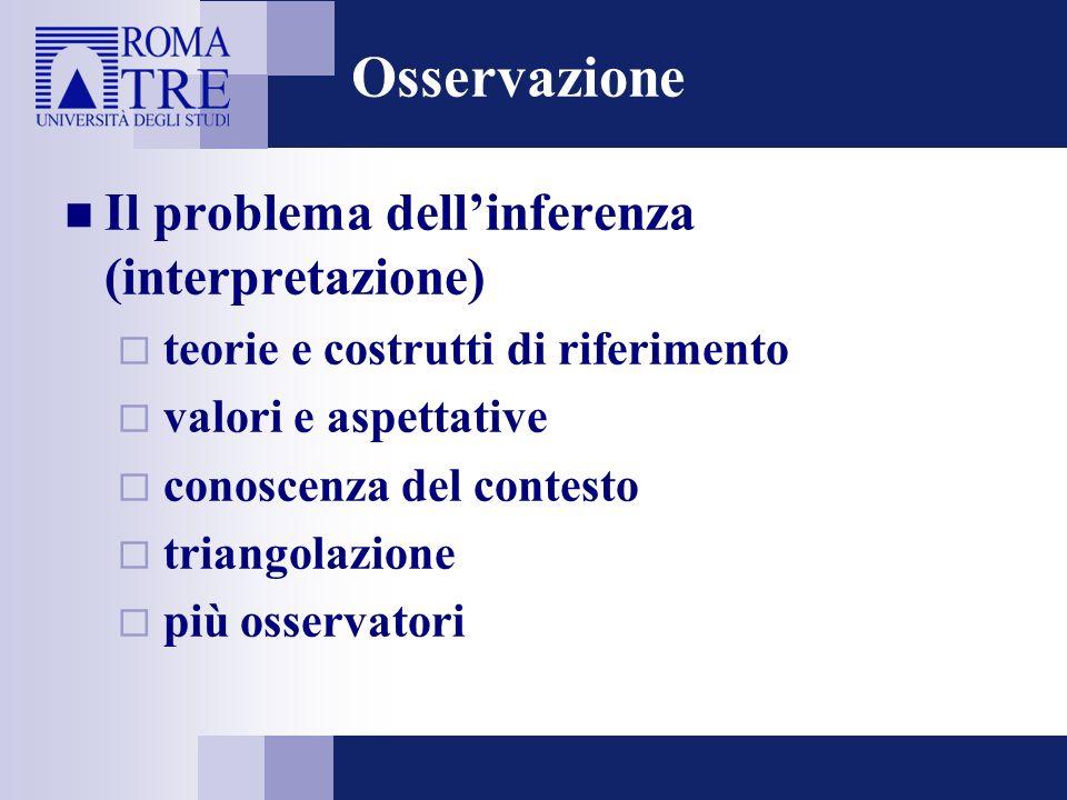 Osservazione Il problema dell'inferenza (interpretazione)