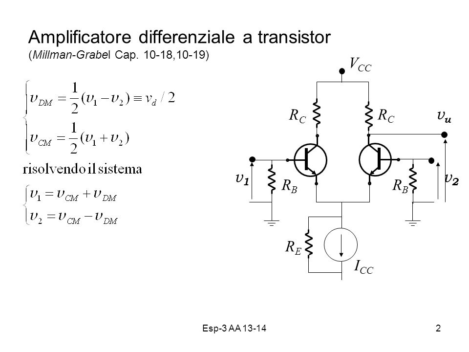Amplificatore differenziale a transistor (Millman-Grabel Cap