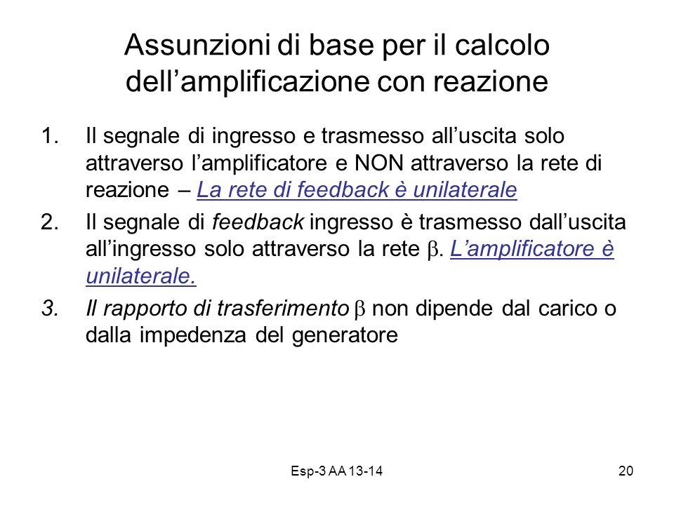 Assunzioni di base per il calcolo dell'amplificazione con reazione