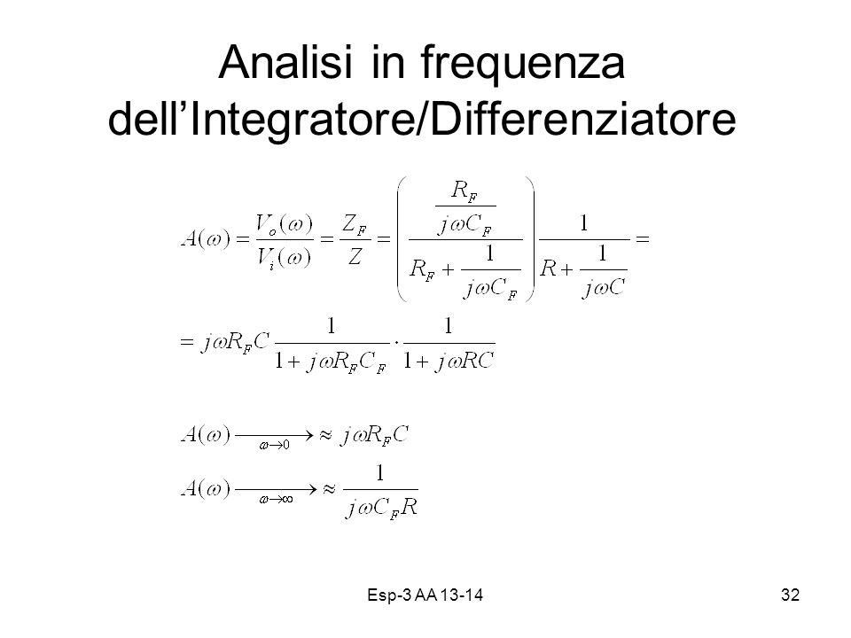 Analisi in frequenza dell'Integratore/Differenziatore