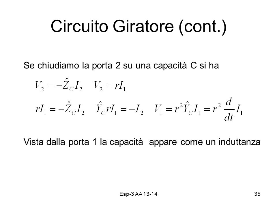 Circuito Giratore (cont.)