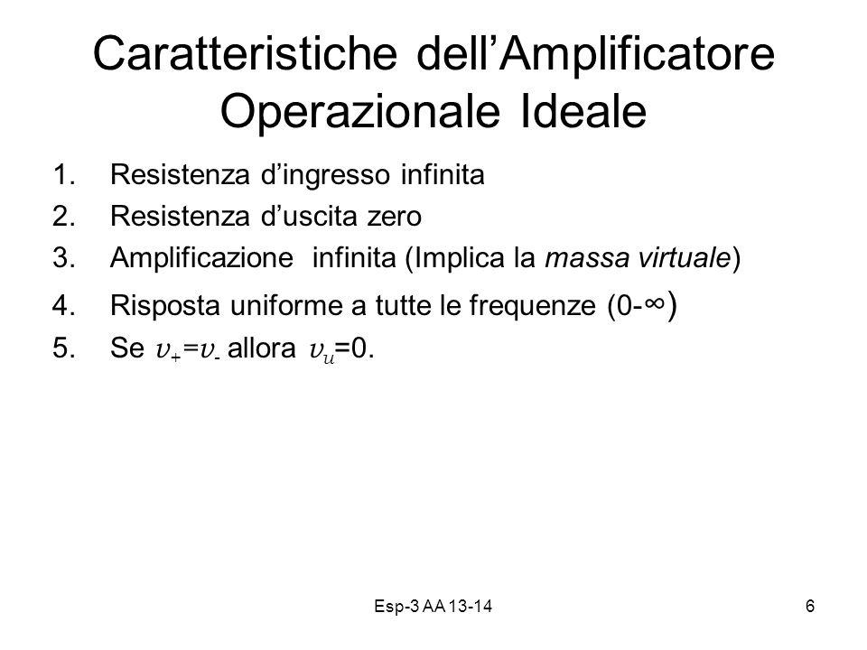 Caratteristiche dell'Amplificatore Operazionale Ideale