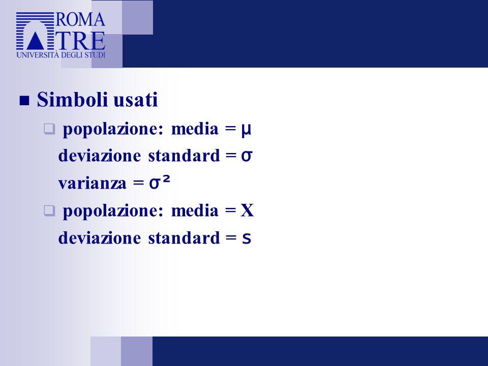 Simboli usati popolazione: media = μ deviazione standard = σ