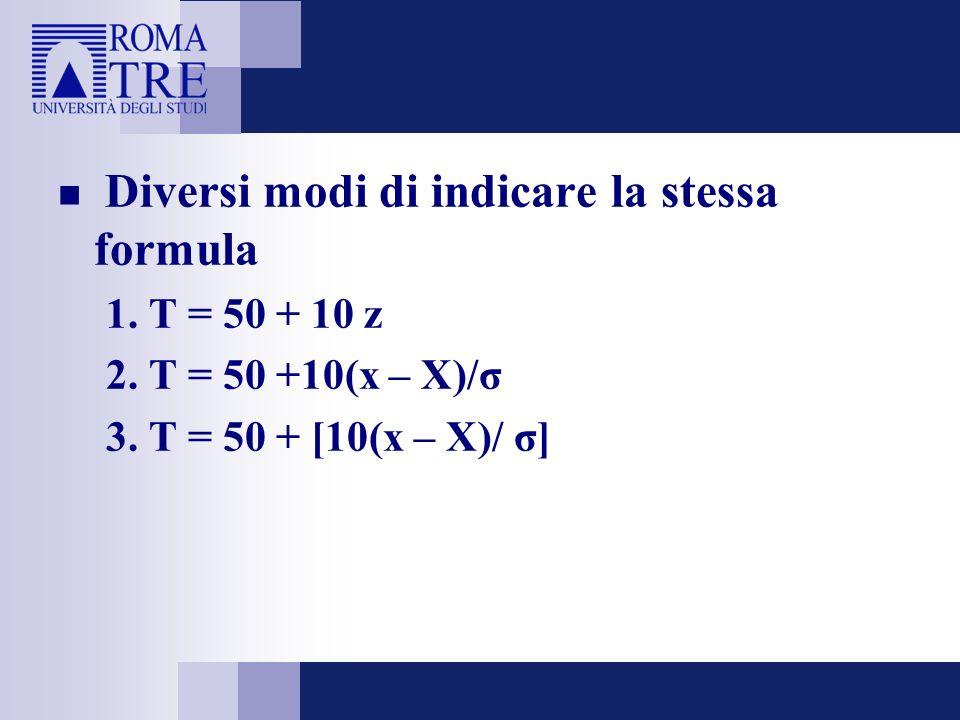 Diversi modi di indicare la stessa formula