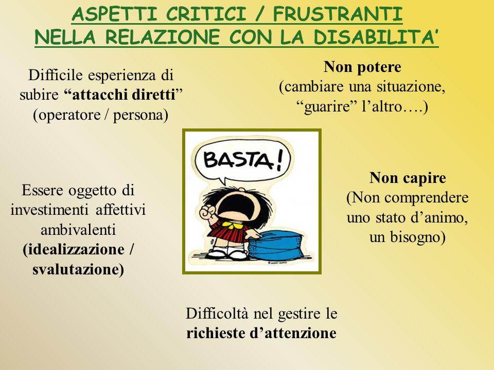 ASPETTI CRITICI / FRUSTRANTI NELLA RELAZIONE CON LA DISABILITA'