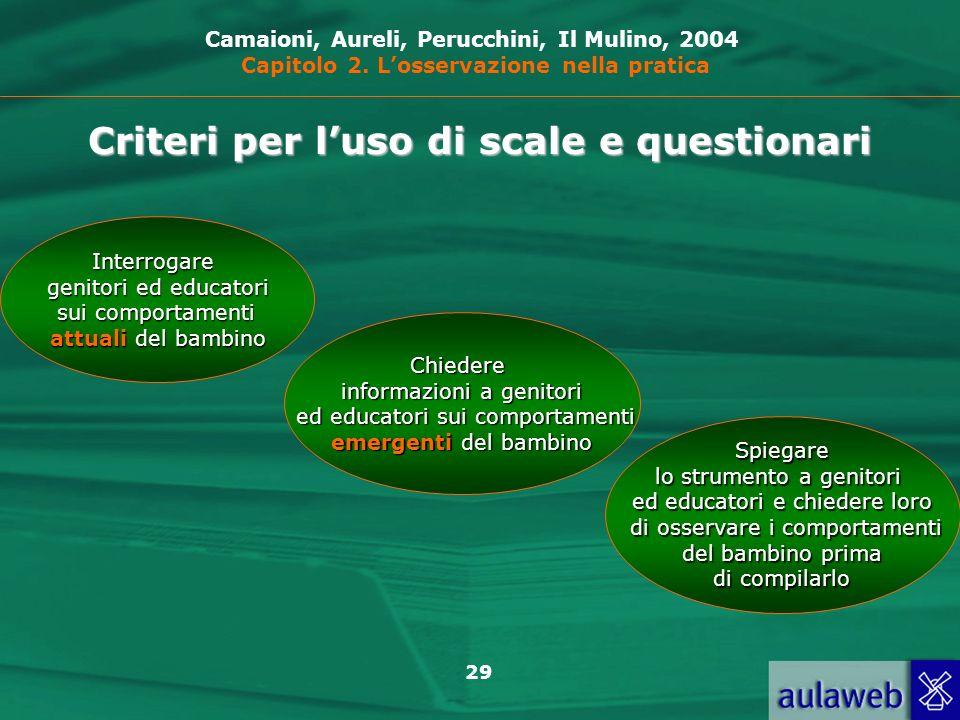 Criteri per l'uso di scale e questionari