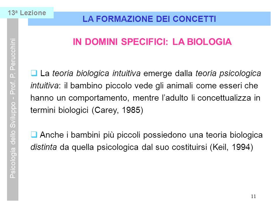 LA FORMAZIONE DEI CONCETTI IN DOMINI SPECIFICI: LA BIOLOGIA