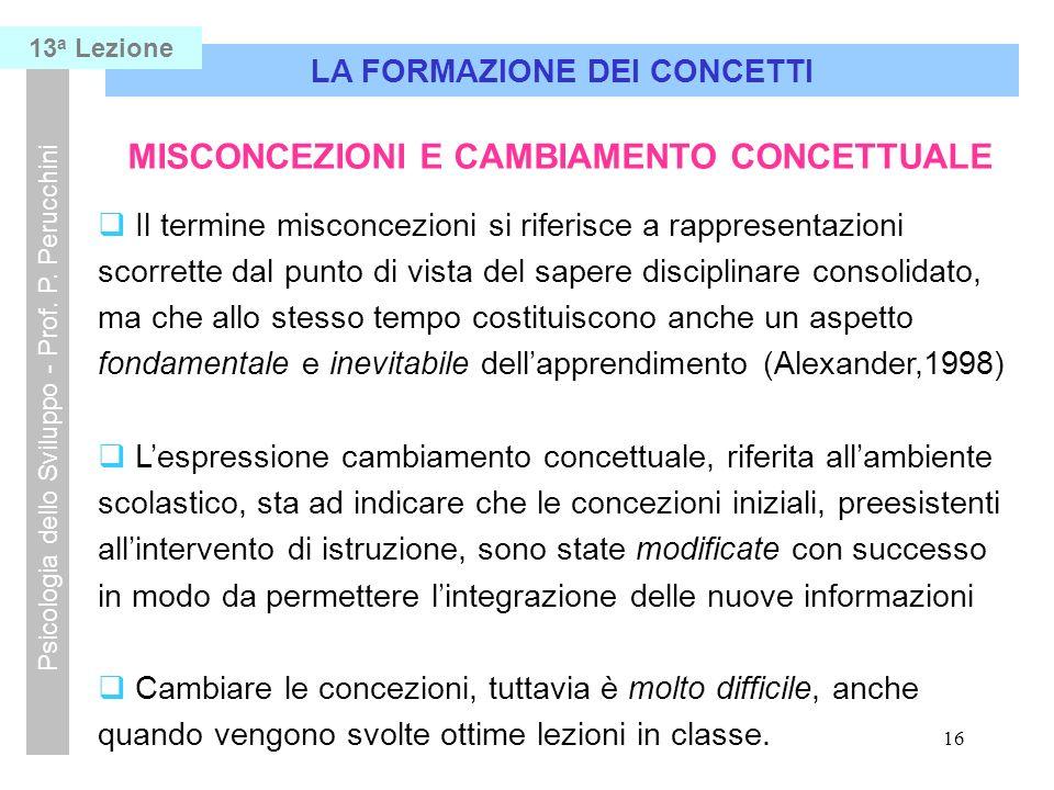 LA FORMAZIONE DEI CONCETTI MISCONCEZIONI E CAMBIAMENTO CONCETTUALE