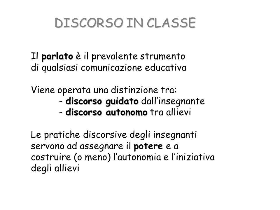 DISCORSO IN CLASSE Il parlato è il prevalente strumento