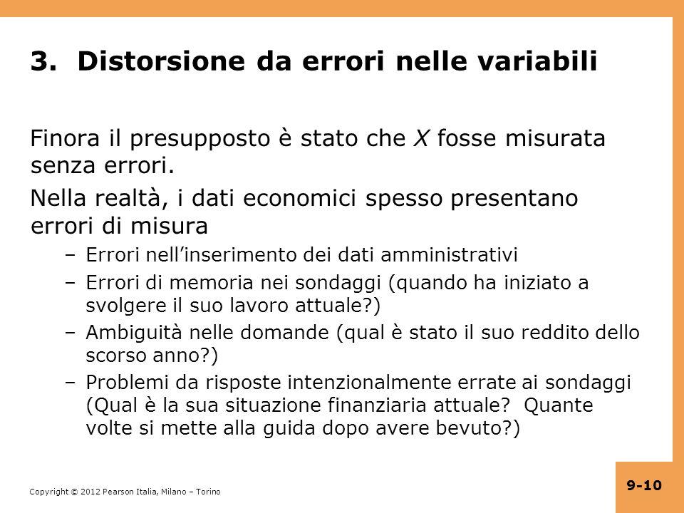 3. Distorsione da errori nelle variabili
