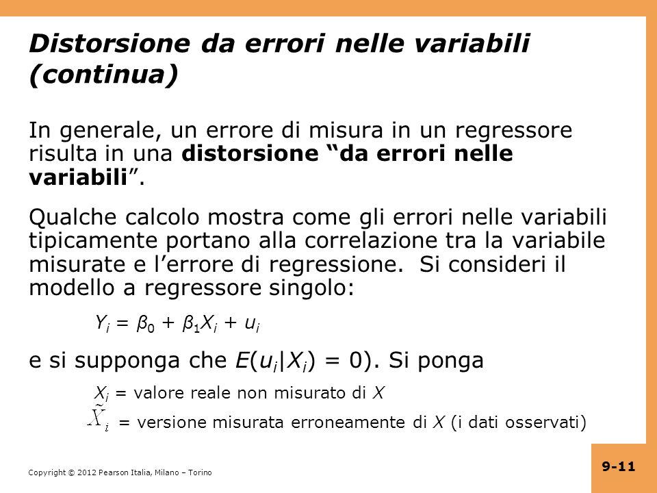 Distorsione da errori nelle variabili (continua)