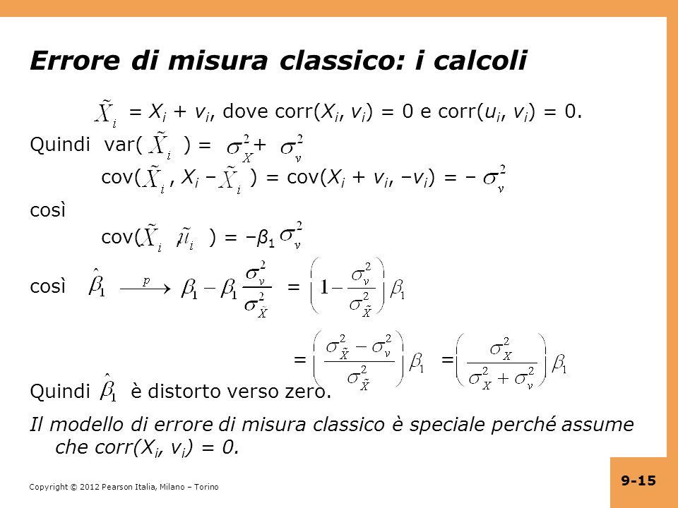 Errore di misura classico: i calcoli