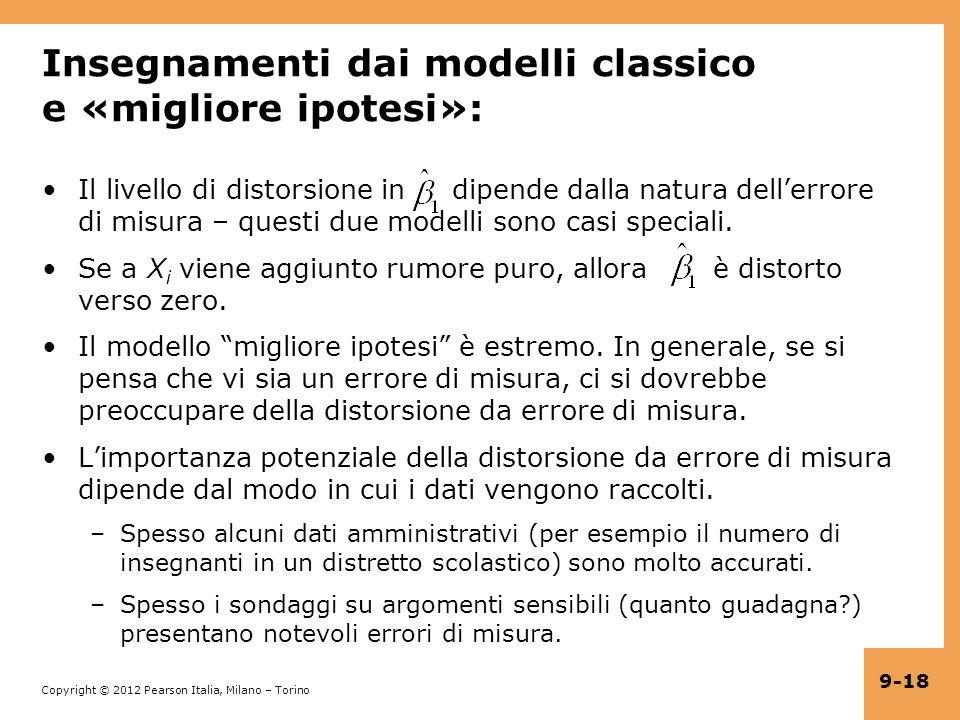 Insegnamenti dai modelli classico e «migliore ipotesi»: