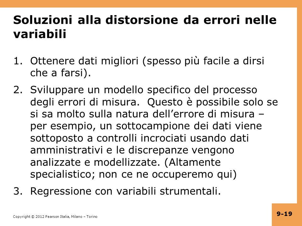 Soluzioni alla distorsione da errori nelle variabili