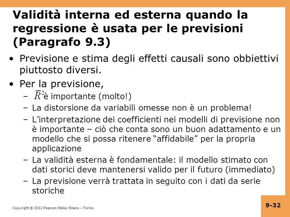 Validità interna ed esterna quando la regressione è usata per le previsioni (Paragrafo 9.3)