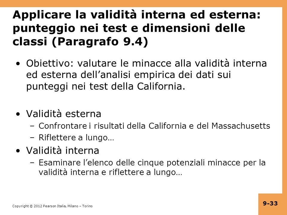 Applicare la validità interna ed esterna: punteggio nei test e dimensioni delle classi (Paragrafo 9.4)
