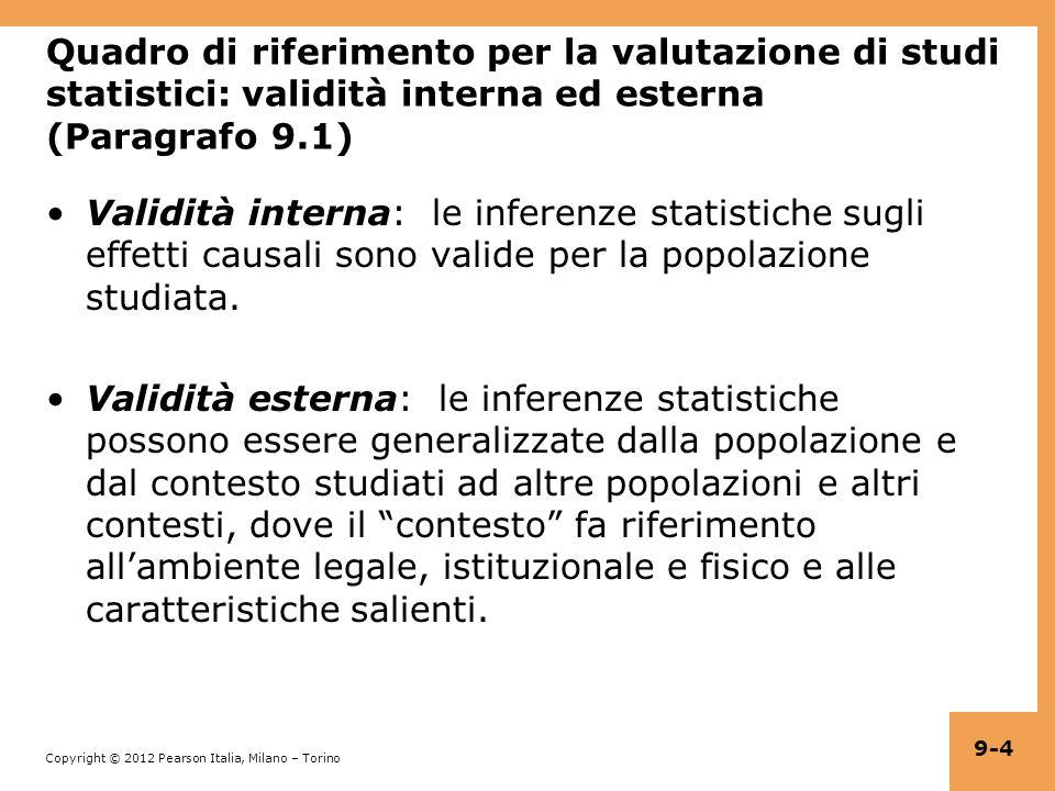 Quadro di riferimento per la valutazione di studi statistici: validità interna ed esterna (Paragrafo 9.1)