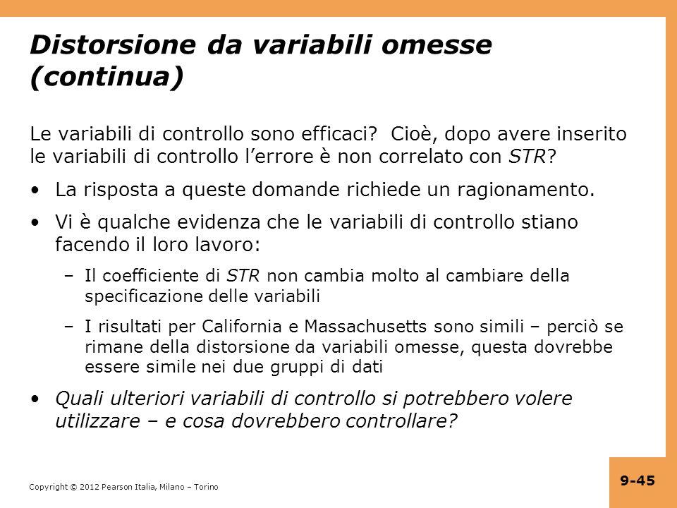 Distorsione da variabili omesse (continua)