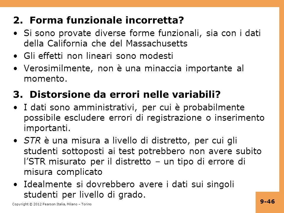 2. Forma funzionale incorretta
