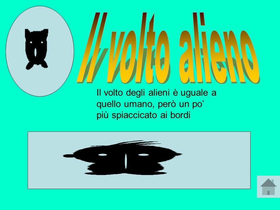 Il volto alieno Il volto degli alieni è uguale a quello umano, però un po' più spiaccicato ai bordi