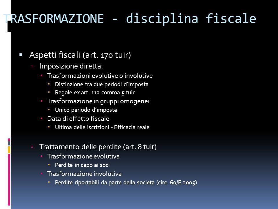 TRASFORMAZIONE - disciplina fiscale