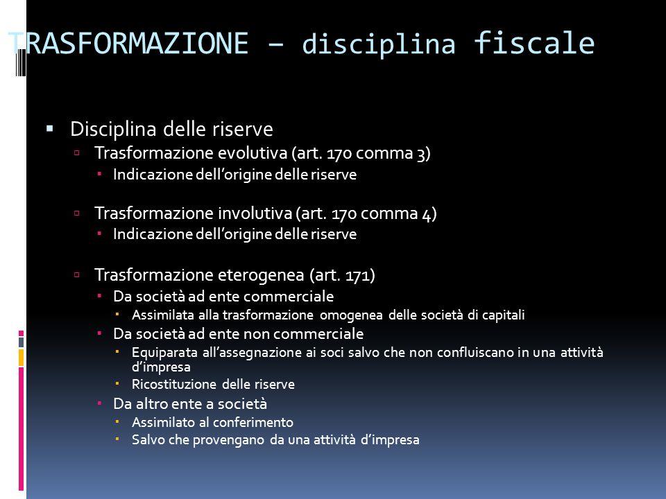 TRASFORMAZIONE – disciplina fiscale