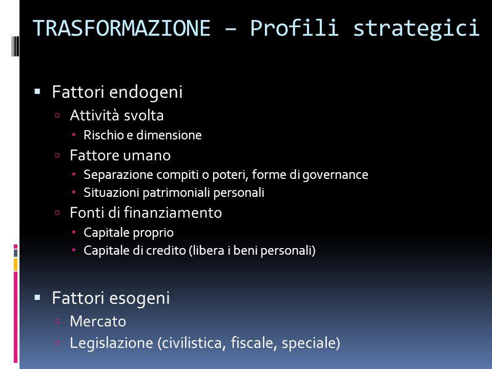 TRASFORMAZIONE – Profili strategici