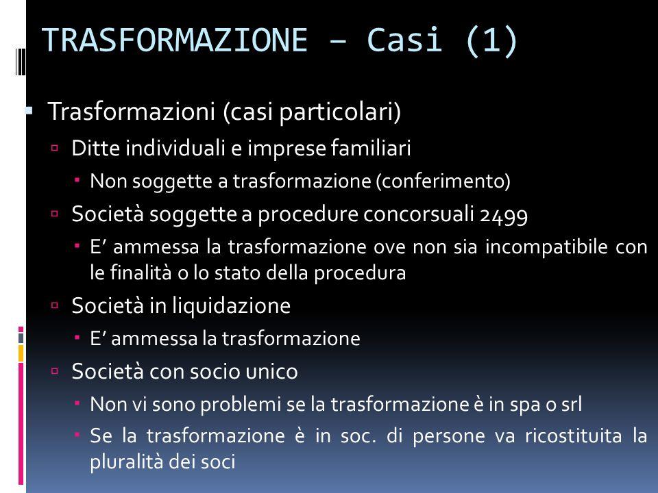 TRASFORMAZIONE – Casi (1)