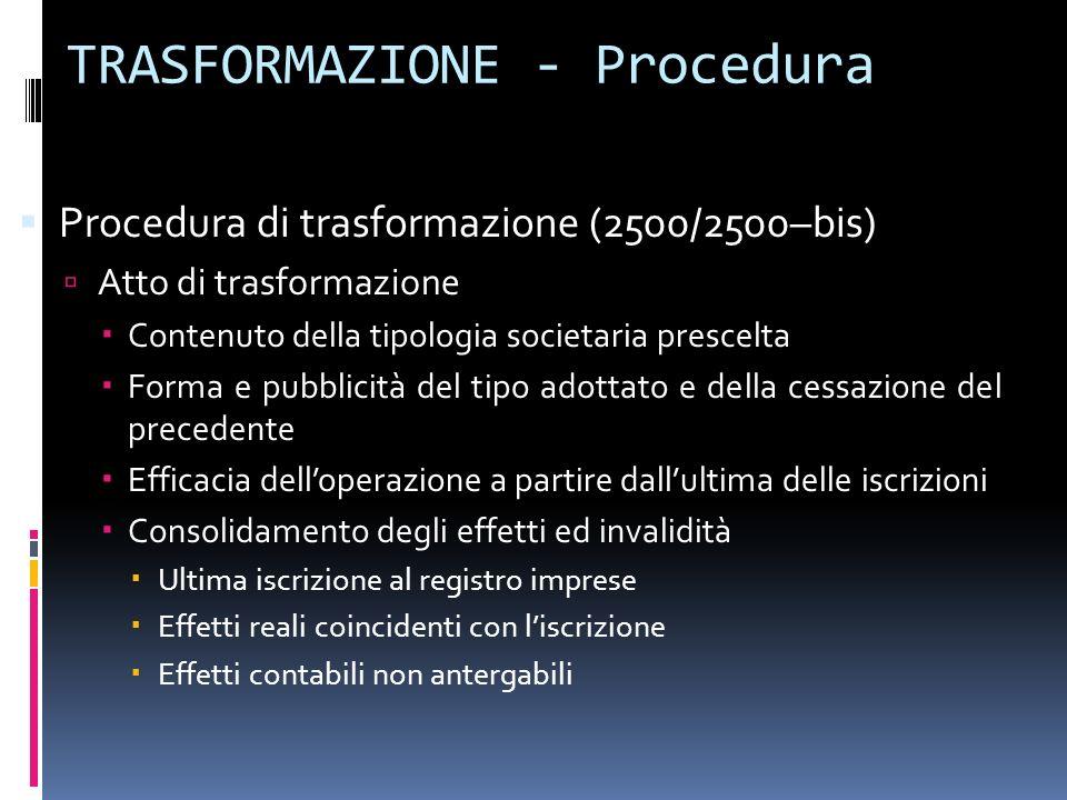 TRASFORMAZIONE - Procedura