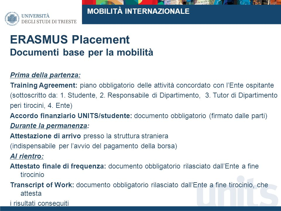 ERASMUS Placement Documenti base per la mobilità