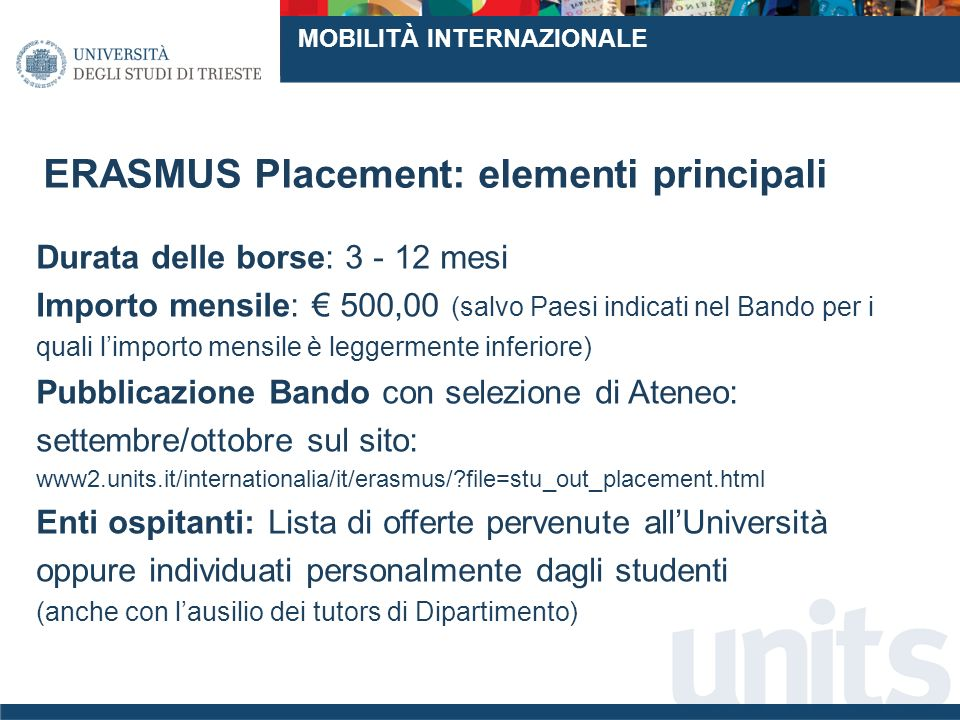 ERASMUS Placement: elementi principali