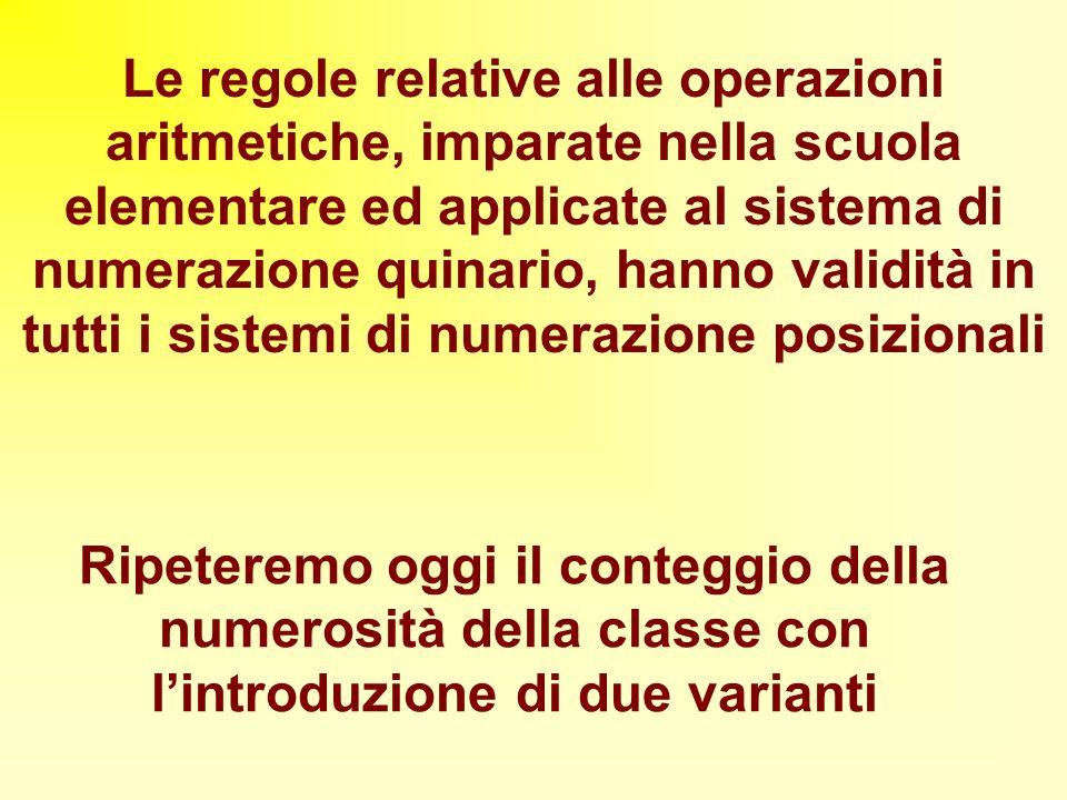 Le regole relative alle operazioni aritmetiche, imparate nella scuola elementare ed applicate al sistema di numerazione quinario, hanno validità in tutti i sistemi di numerazione posizionali
