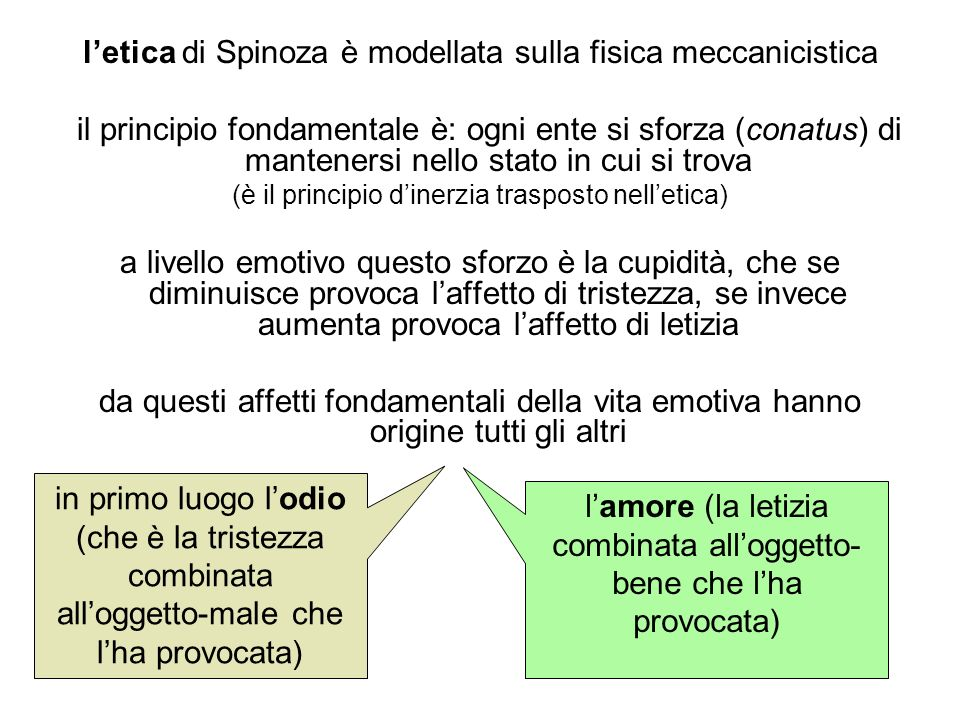 l'etica di Spinoza è modellata sulla fisica meccanicistica