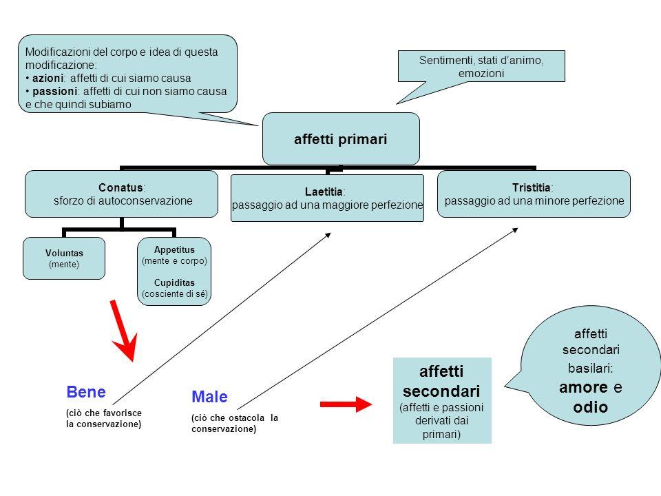 affetti secondari (affetti e passioni derivati dai primari) Bene Male