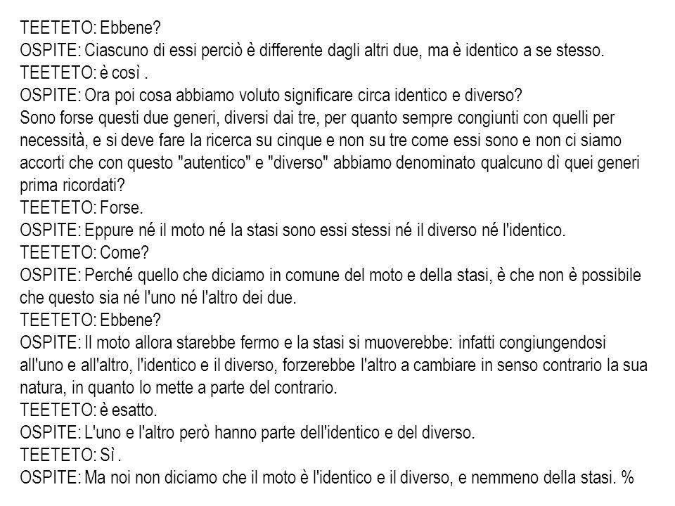 TEETETO: Ebbene OSPITE: Ciascuno di essi perciò è differente dagli altri due, ma è identico a se stesso.