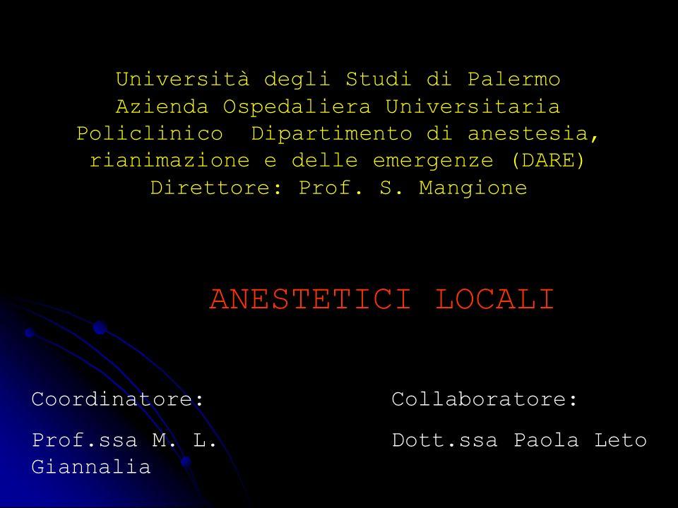 Università degli Studi di Palermo Azienda Ospedaliera Universitaria Policlinico Dipartimento di anestesia, rianimazione e delle emergenze (DARE) Direttore: Prof. S. Mangione