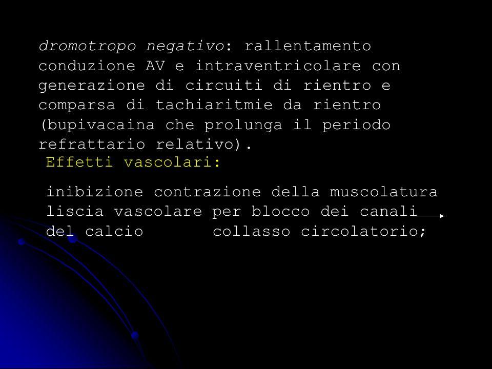 dromotropo negativo: rallentamento conduzione AV e intraventricolare con generazione di circuiti di rientro e comparsa di tachiaritmie da rientro (bupivacaina che prolunga il periodo refrattario relativo).