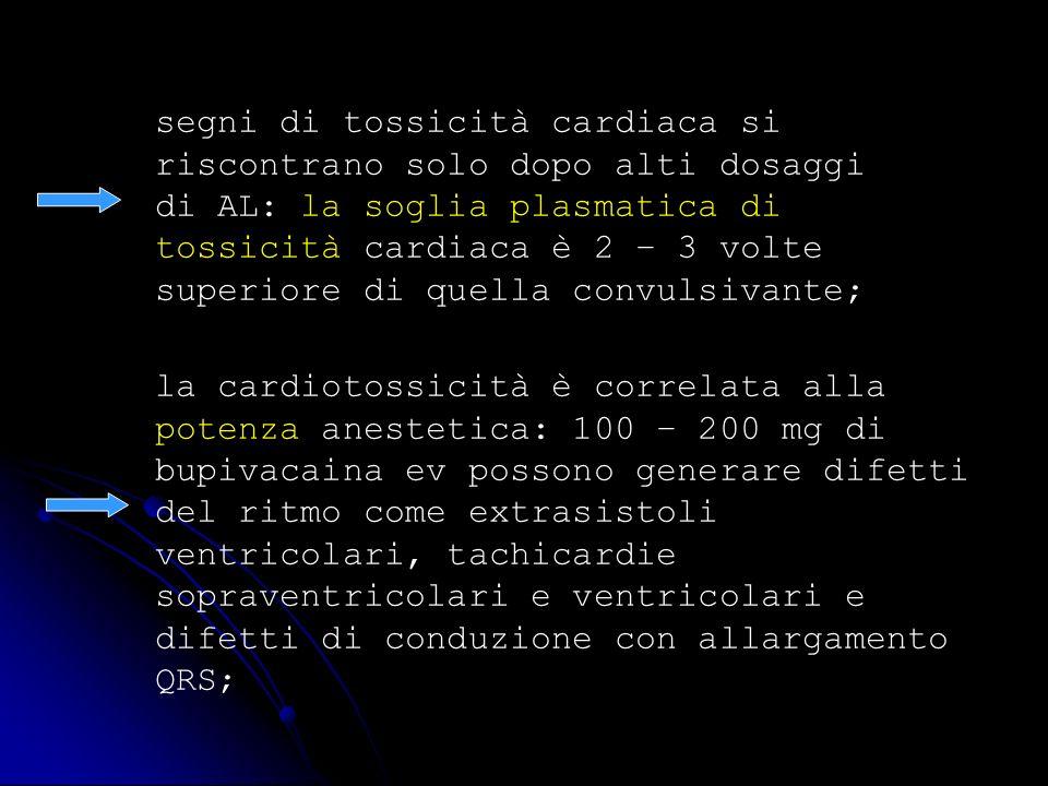 segni di tossicità cardiaca si riscontrano solo dopo alti dosaggi di AL: la soglia plasmatica di tossicità cardiaca è 2 – 3 volte superiore di quella convulsivante;