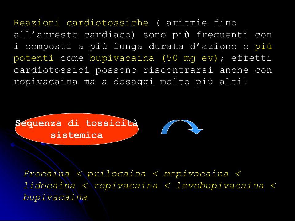 Reazioni cardiotossiche ( aritmie fino all'arresto cardiaco) sono più frequenti con i composti a più lunga durata d'azione e più potenti come bupivacaina (50 mg ev); effetti cardiotossici possono riscontrarsi anche con ropivacaina ma a dosaggi molto più alti!