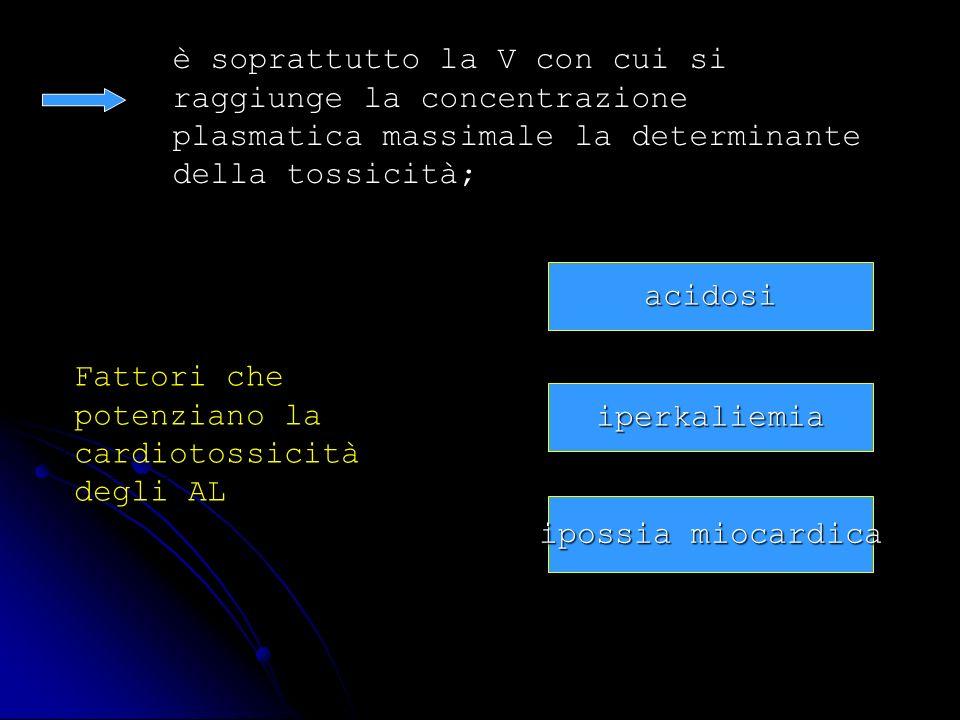 è soprattutto la V con cui si raggiunge la concentrazione plasmatica massimale la determinante della tossicità;