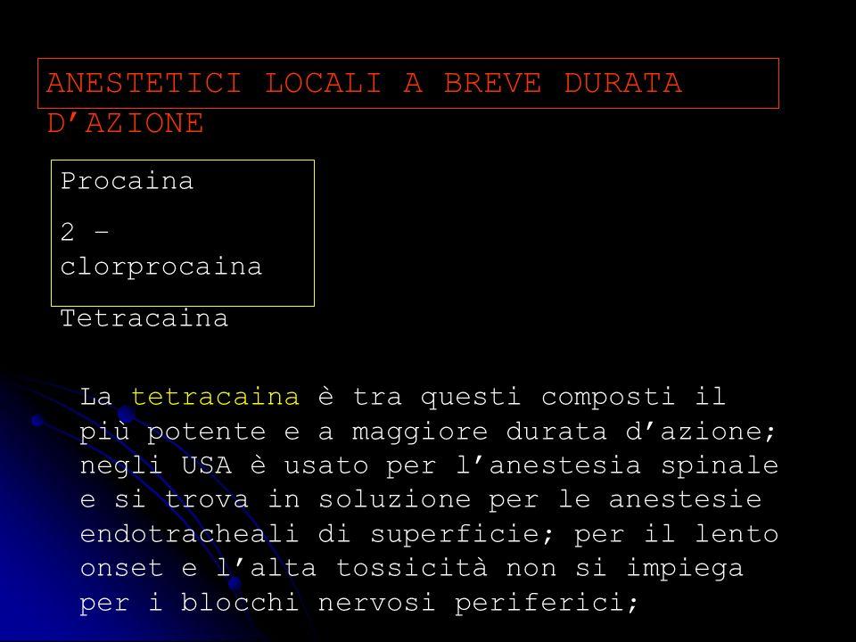ANESTETICI LOCALI A BREVE DURATA D'AZIONE