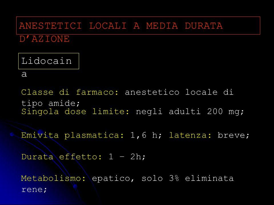 ANESTETICI LOCALI A MEDIA DURATA D'AZIONE