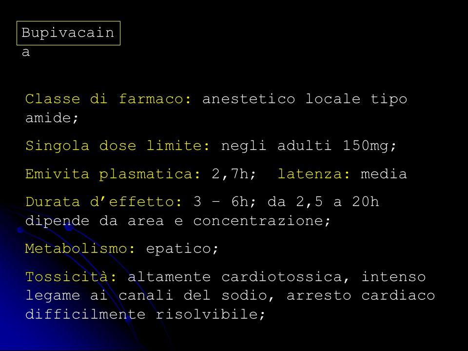 BupivacainaClasse di farmaco: anestetico locale tipo amide; Singola dose limite: negli adulti 150mg;