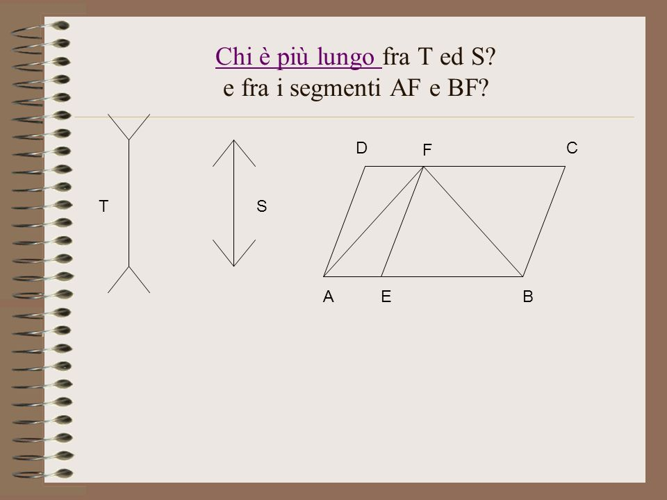 Chi è più lungo fra T ed S e fra i segmenti AF e BF