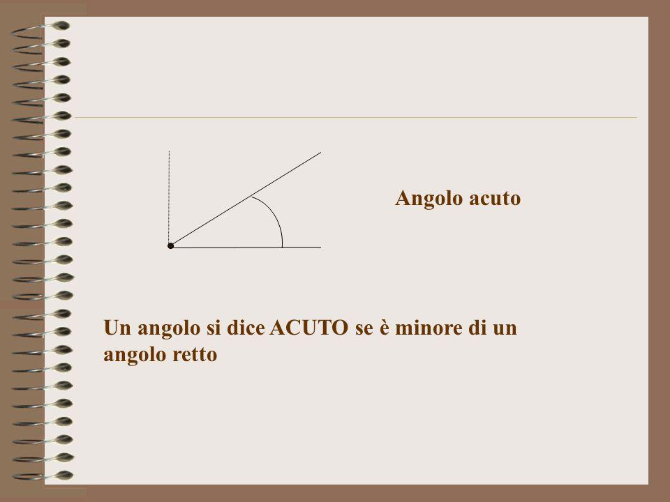 Angolo acuto Un angolo si dice ACUTO se è minore di un angolo retto