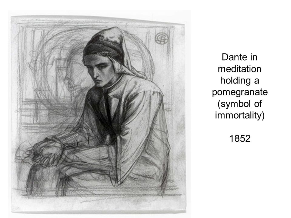 Dante in meditation holding a pomegranate (symbol of immortality) 1852