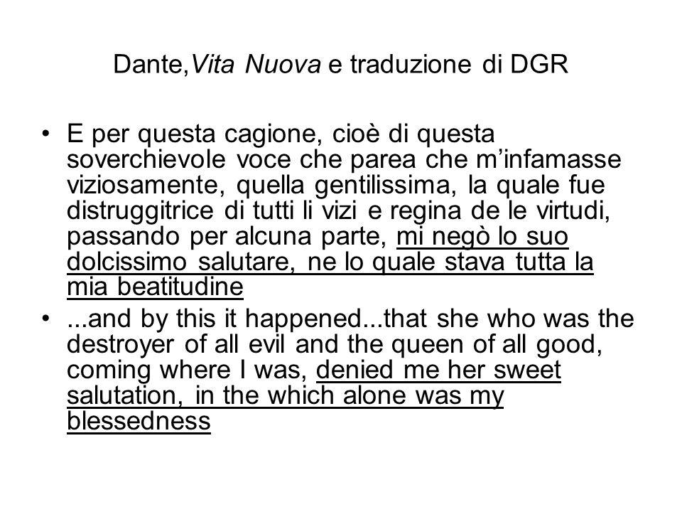 Dante,Vita Nuova e traduzione di DGR