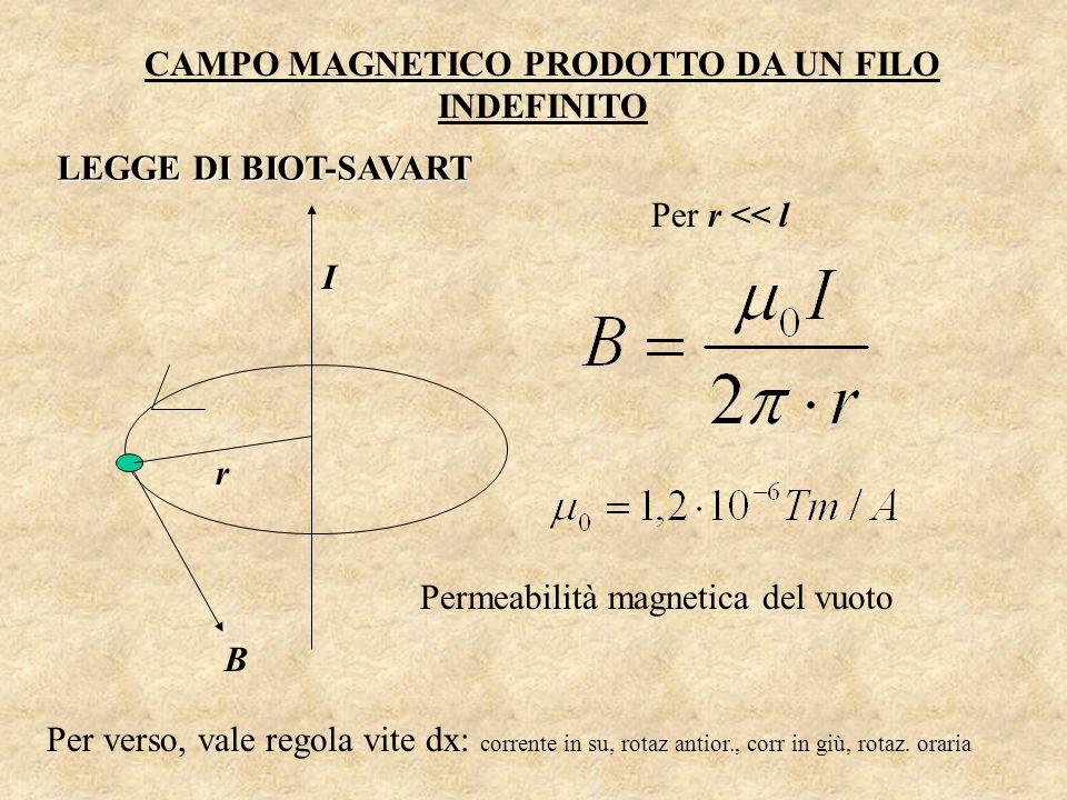 CAMPO MAGNETICO PRODOTTO DA UN FILO INDEFINITO